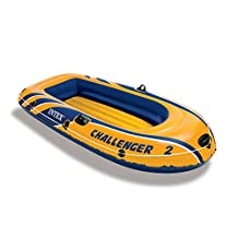 Intex Challenger 2, 2-Person Inflatable Boat Set with French Oars and High Output Air Pump
