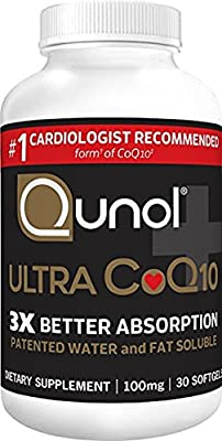 Qunol Ultra 100mg CoQ10, 3x Better Absorption, Patented Water and Fat Soluble Natural Supplement Form of Coenzyme Q10