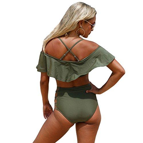 incrociate balze con fasciatura Dongy vita donna Costume sexy Verde a da bagno alta da Falbala due spiaggia set pezzi a a da waHZwUq