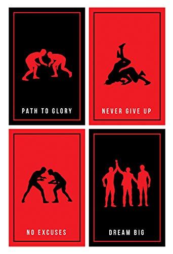 Damdekoli Wrestling Quote Posters, 11x17 Inches, Set of 4, Wrestlers Artwork, Wrestling, Boys Girls Decor, Silhouette