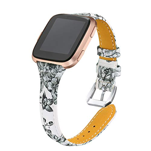 bayite Bands Compatible Fitbit Versa, Slim Genuine Leather Band Replacement Accessories Strap Versa Women Flower 3