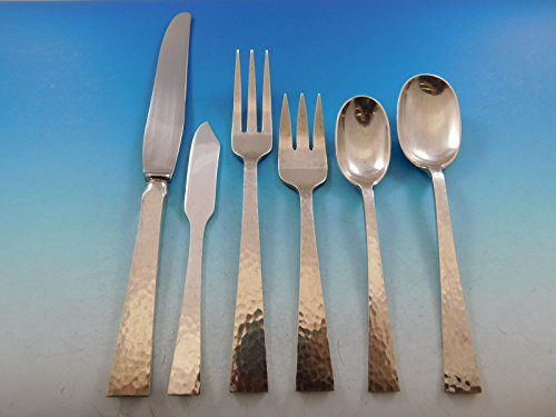 Starlit by Allan Adler Sterling Silver Flatware Set for 12 Service 83 pcs (Pointed Antique Place Spoon)
