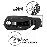Mini Multifunction Outdoors Fixed Blade Hunting Knife Glass Breaker,Bottle Opener,Seat Belt Cutter for Men/Women/Adult, Black