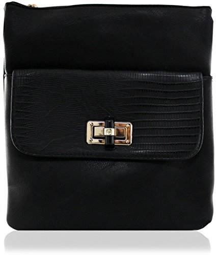 Peau Tote À Pocket Messenger Black Avant Main Travel La Kukubird Faux Sac Cuir CYxqwH1R