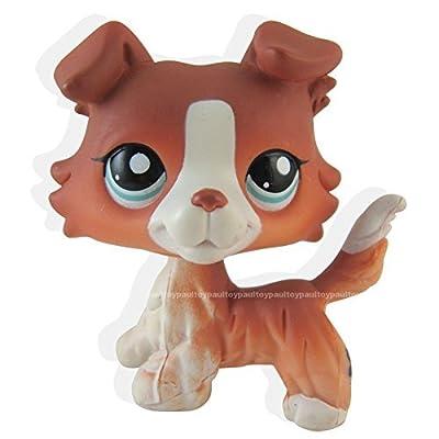 #1542 Littlest Pet Shop Red Brown Collie Dog Puppy Blue Eyes Figure LPS Toy