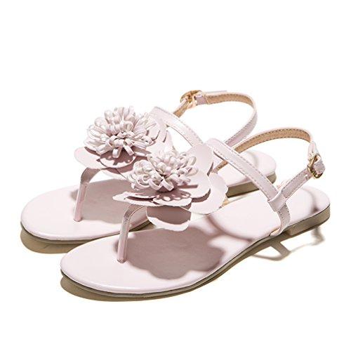 Fleur Mignonne la Ouvert Confortables Sandales UH D'été avec Plage Femmes et Tongs Rose Plates à de Bout Talons pour xzxCZSqw