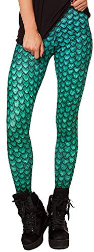 Sister Amy Women's High Waist Dragon Scales Printed Ankle Elastic Tights ()