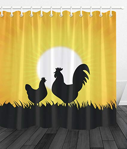youyoutang Bathroom Waterproof Fabric Shower Curtain Sunset Rooster Hen Shadow 3D High-Definition Printing Does Not Fade 12 Shower Hooks 70.8X70.8 Inch Home Decor Bathroom Accessories