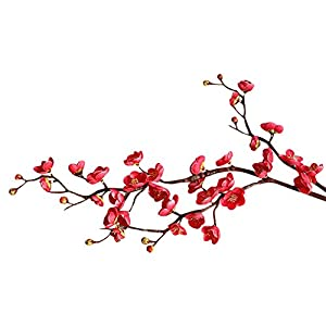 SANGQU Fake Flowers Vintage Artificial Real Looking Berry Silk Material Plum Blossom Flowers Wedding Home Bouquet Party Decoration Decor,Pack of 1 (vase not Included) 115