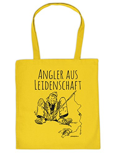 Tasche für Angler. Diese Henkeltasche mit Aufdruck: ANGLER AUS LEIDENSCHAFT ist eine tolle Geschenkidee.