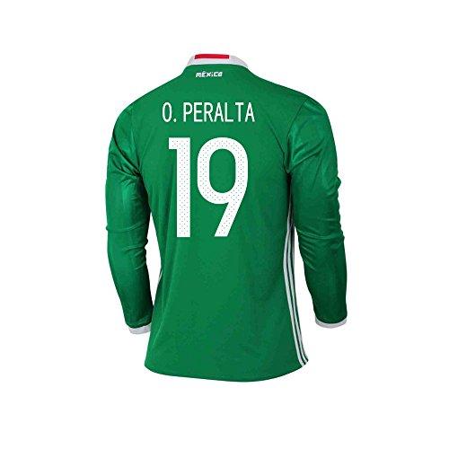 すでに虚栄心情緒的O. PERALTA #19 Mexico Home Long Sleeve Jersey COPA America 2016(Authentic name & number)/サッカーユニフォーム メキシコ ホーム用 長袖 O. ペラルタ