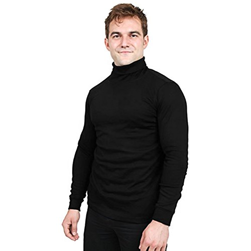 Utopia Wear Special Comfort Fit Turtleneck T-Shirt - Premium Cotton Blend Interlock Fabric - Long Sleeves - Machine Washable and Ultra Comfortable - Attractive and Trendy, Large (Black)