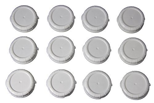 Replacement Bottle Caps for Libbey and Stanpac Milk Bottles 48 mm, ( 12 Pack ) (48 Mm Plastic Cap)