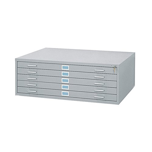 Safco Office 5-Drawer Steel Flat File for 30'' x 42'' Documents Gray by Safco