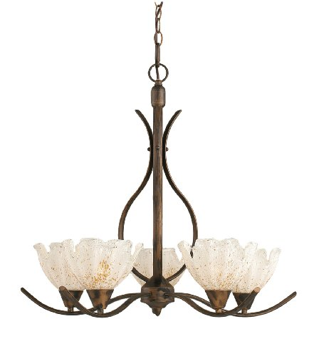 Toltec Lighting 295-BRZ-755 Swoop Five-Light Uplight Chandelier Bronze Finish with Gold Ice Glass Shade, 7-Inch