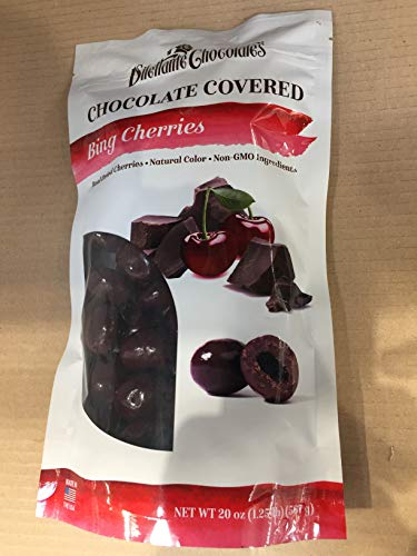 Dilettante Chocolates, Bing Cherries Chocolate Covered, 20 OZ (One Pack) (Chocolate Cherries Dark)