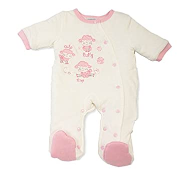 21e80eed8434 Girls Baby Pink Cream Padded All In One Suit Cute Fluffy Tiny Sheep ...