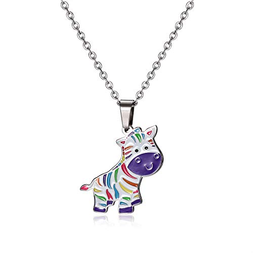 FUNLMO White Rainbow Zebra Charm Pendant Necklace Animal Lover Gift Stainless Steel Fun Necklace for -