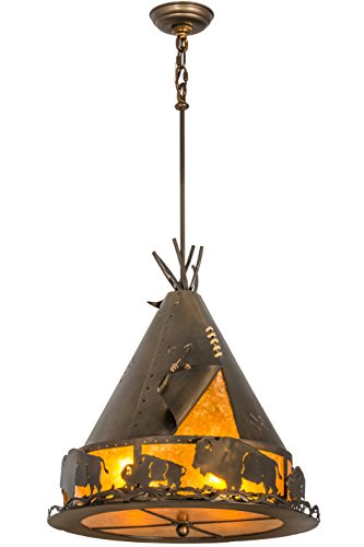 Meyda Tiffany 50156 Teepee with Buffalo Pendant Light Fixture, 20
