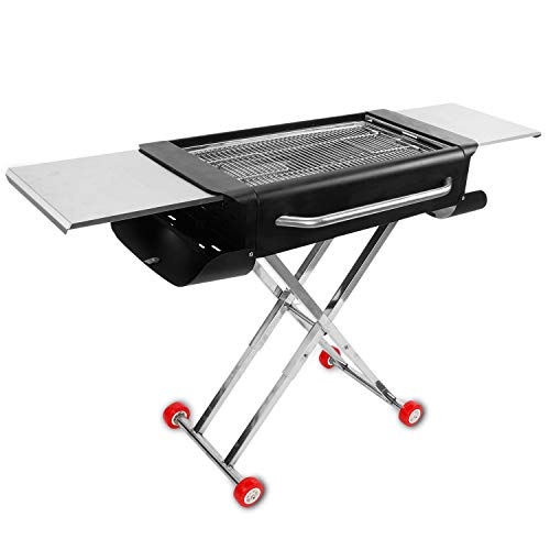 (Sougem Portable Charcoal Grill Barbecue Camping Outdoor Cooking Thickened Stainless Steel Folding Barbecue Grill,Black.)