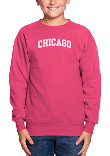 HAASE UNLIMITED Chicago - State Proud Strong Pride Youth Fleece Crewneck Sweater (Pink, Small) -