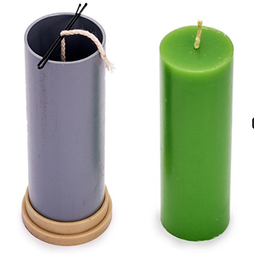Candle Shop - Сylinder mold - height: 5.1 in, width: 1.9 in - 30 ft. of wick included as a gift - Plastic candle molds for making candles