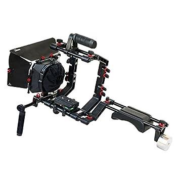 Image of Camera Shoulder Supports FILMCITY DSLR Camera Shoulder Support Rig Kit with Cage & Matte Box | DV HDV DSLR Video Camcorders Compatible | Free - Offset Z Bracket (FC-02)