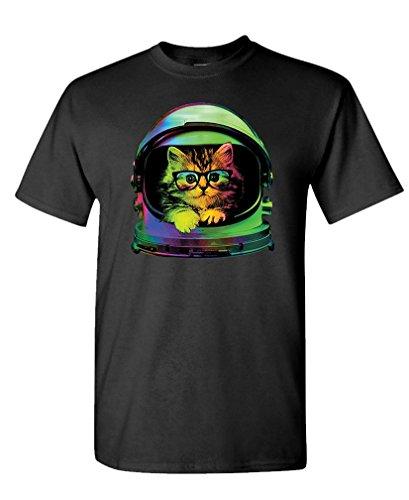 Space Kitten - Cute Astronaut cat Glasses - Mens Cotton T-Shirt, S, Black