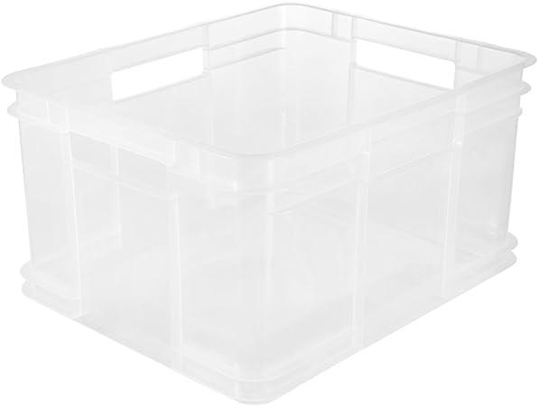 keeeper Caja de almacenaje Eurobox XL, Plástico robusto (PP), 43 x 35 x 24 cm, 28 l, Bruno, Transparente neutro: Amazon.es: Hogar