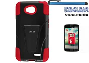 LG OPTIMUS EXCEED 2 Accessories 3-items Bundle-VGUARD Dual- Layer Hard/Gel Hybrid Kickstand Armor Case (Black/Red)+ICE-CLEAR(TM) Screen Protector Shield(Ultra Clear)+Touch Screen Stylus
