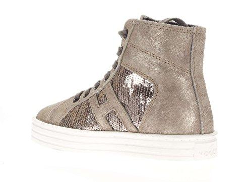 Hogan Rebel Junior Niña Sneaker alta hxc1410p991dwe699F R141allacciato tejido lentejuelas Argilla