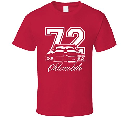 1972 Oldsmobile 442 Grill Year Model Dark Shirt 2XL Red