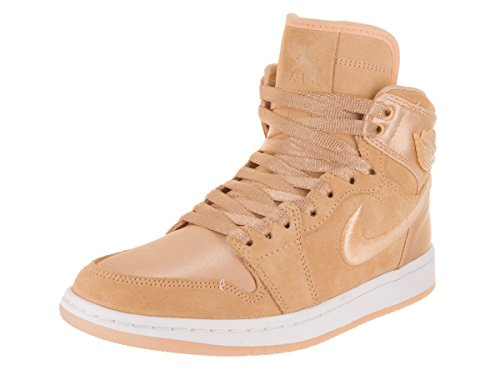 Jordan Nike Women's Air 1 Retro High SOH Ice Peach/White Metallic Gold Casual Shoe 8 Women US by Jordan