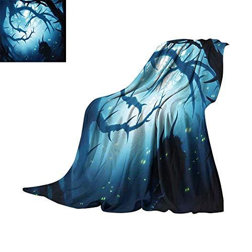 RenteriaDecor Mystic Decor,Fleece Blanket Animal with Burning Eyes in Dark Forest at Night Horror Halloween Illustration Plush Microfiber Blanket W60 x L50 inch -