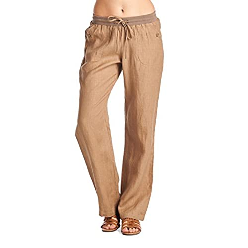 High Style Womens Wide Leg Loose Fitting 100% Linen Pants with Drawstring Detail (002A, Lightbrown, 8)