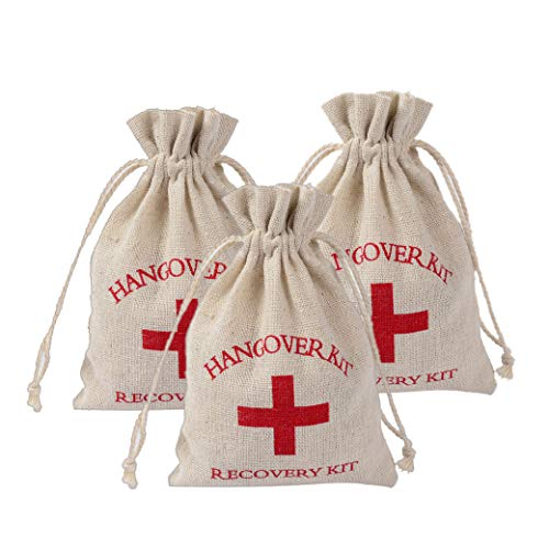 Lujuny Red Cross Hangover Kit Bags for Bachelorette Party Favors Supplies Wedding Bridesmaid Gift Jewelry Organizer, 3.8 x 5.5'' (15 Pc for 10-15 guests) (Best Drug For Hangover)