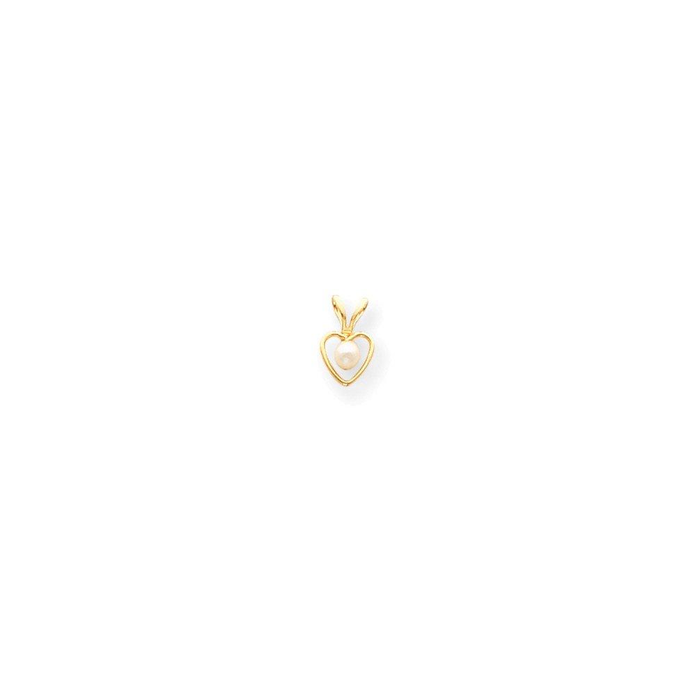 Best Designer Jewelry 14k 3mm FW Cultured Pearl Heart Birthstone Necklace