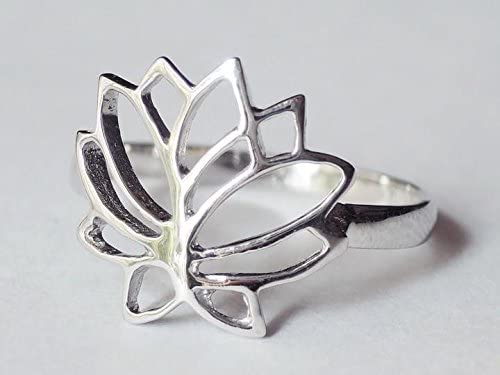 Sovats Lotus Flower Ring for Women 925 Sterling Silver Rhodium Plated Perfect for Nature Lover