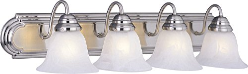 Maxim 8014MRSN Essentials 4-Light Bath Vanity, Satin Nickel Finish, Marble Glass, MB Incandescent Incandescent Bulb , 40W Max., Dry Safety Rating, Standard Dimmable, Opal Acrylic Shade Material, Rated Lumens - Standard Vanity Lighting