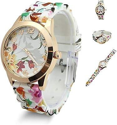 Estone calientes de moda mujer vestido reloj silicona impresas flor Causal cuarzo relojes de pulsera, naranja