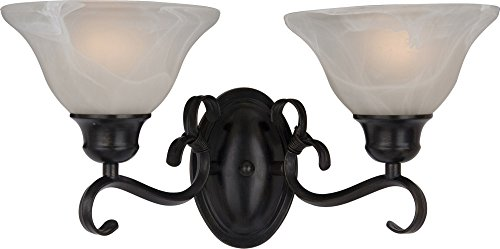 Maxim 8020MRKB Pacific 2-Light Bath Vanity Wall Sconce, Kentucky Bronze Finish, Marble Glass, MB Incandescent Incandescent Bulb , 60W Max., Damp Safety Rating, Standard Dimmable, Hemp String Shade Material, Rated Lumens by Maxim Lighting