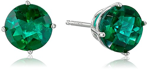 10k White Gold Round Checkerboard Cut Created Emerald Stud Earrings (6mm) ()