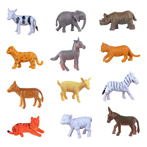 Mini Animal Toy Figures Cupcake Topper Party Supplies (12 PCs) Elephant Rhino Horse Figures Zebra Donkey Cow Tiger Leopard Lion Goat Sheep Lamb Figurines Cake Decoration Gift for Animal Themed Party