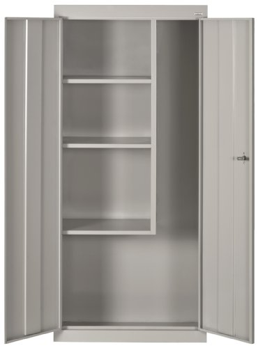 Sandusky Lee VFC1301566-05 Dove Gray Steel Janitorial/Supply Cabinet, 3 Fixed Side Shelves, 66