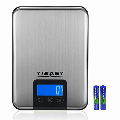 Digital Kitchen Scale, 22 lb Food Weight Measuring Gram Scales with Stainless Steel Platform and Tare Function, Silver(batteries included)