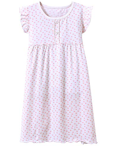 BOOPH Girls' Princess Nightgown Baby Toddler Hearts Shape Sleepwear Nightwear Dress White 2-3 Year Old ()