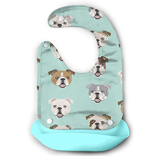 English Bulldog Faces Waterproof Silicone Baby Bibs Easily Wipes Clean Comfortable Soft Baby Bibs Keep Stains Off