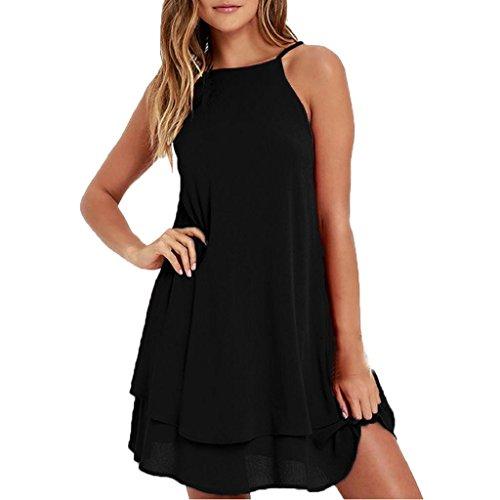 HGWXX7 Women Summer Casual Plus Size Solid Chiffon Strap Beach A-Line Mini Dress (XXL, Black)
