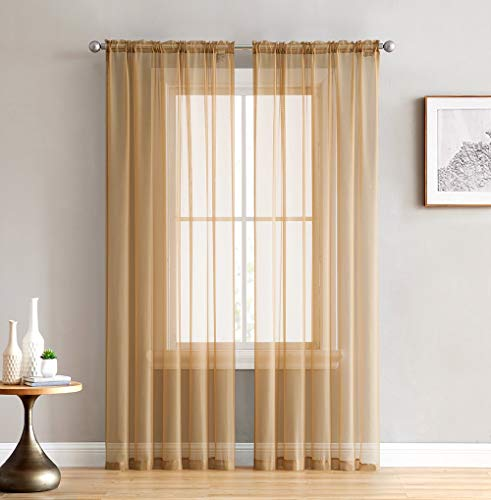 HLC.ME Gold Sheer Voile Window Treatment Rod Pocket Curtain Panels for Kitchen, Bedroom and Living Room (54 x 95 inches Long, Set of 2)