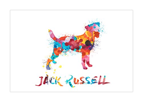 ArtsyCanvas Jack Russell Watercolor Splatter Art (24x16 Poster), 24